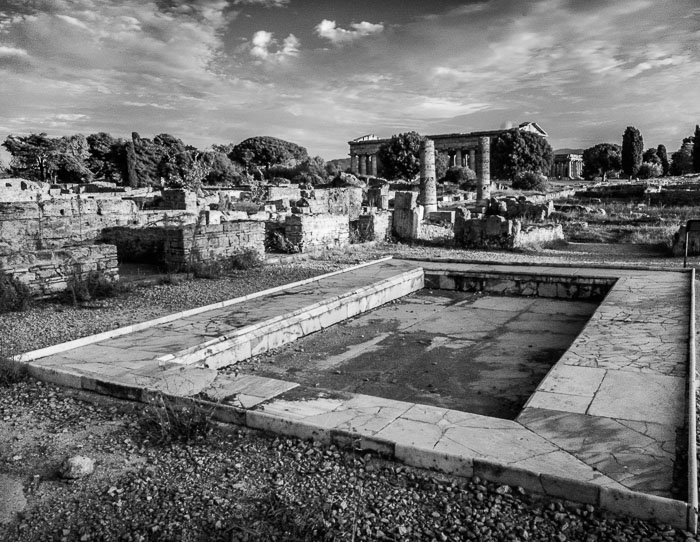 Courtyard Pool, with a view of the Temples of Hera, Paetsum. Digital Infrared