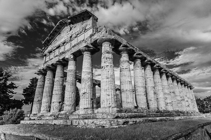 Temple of Athena - also called Ceres temple, in Paestum. Digital Infrared